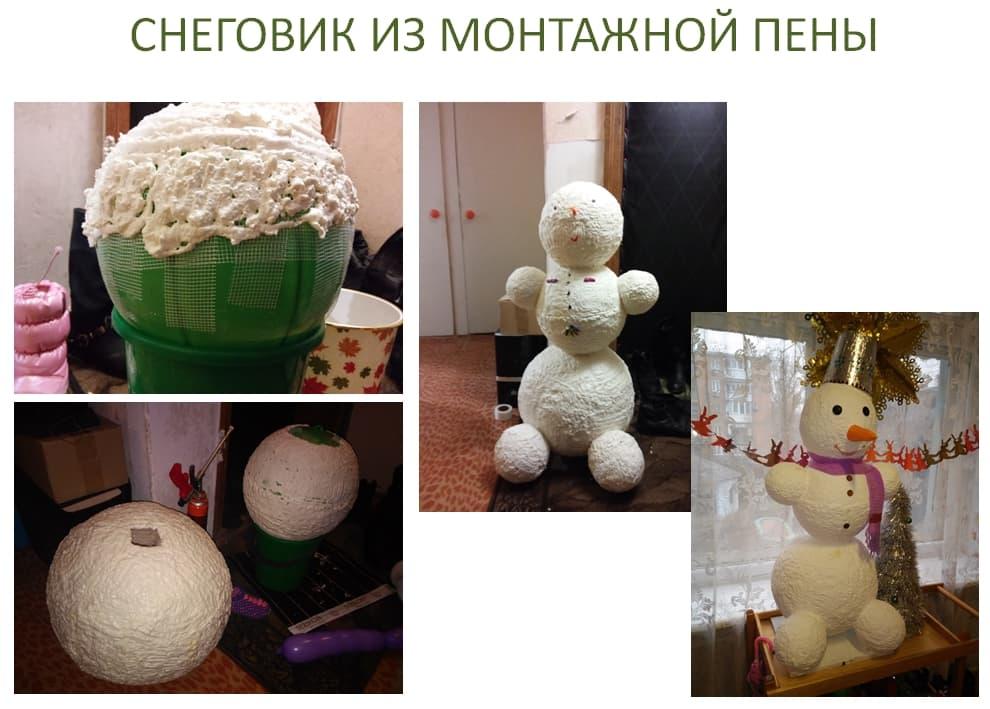 Сніговик з монтажної піни. Дід мороз з монтажної піни